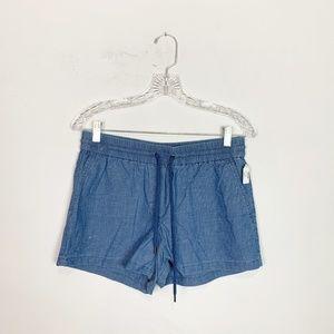J. Crew blue chambray drawstring shorts size 4